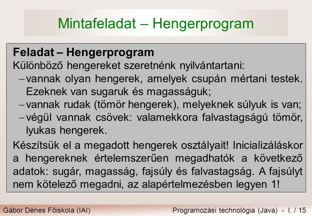 Mintafeladat – Hengerprogram