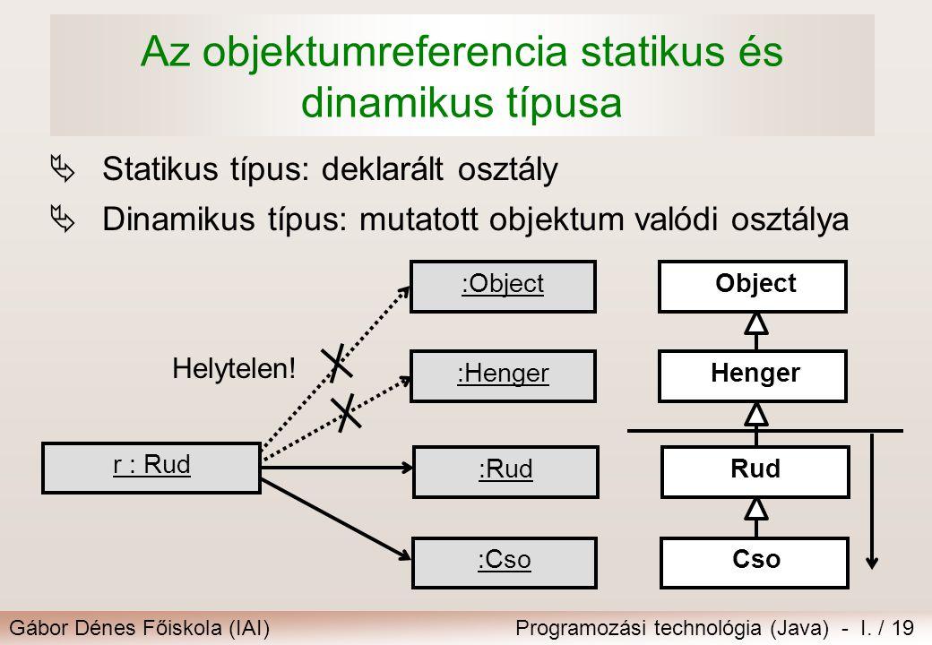 Az objektumreferencia statikus és dinamikus típusa