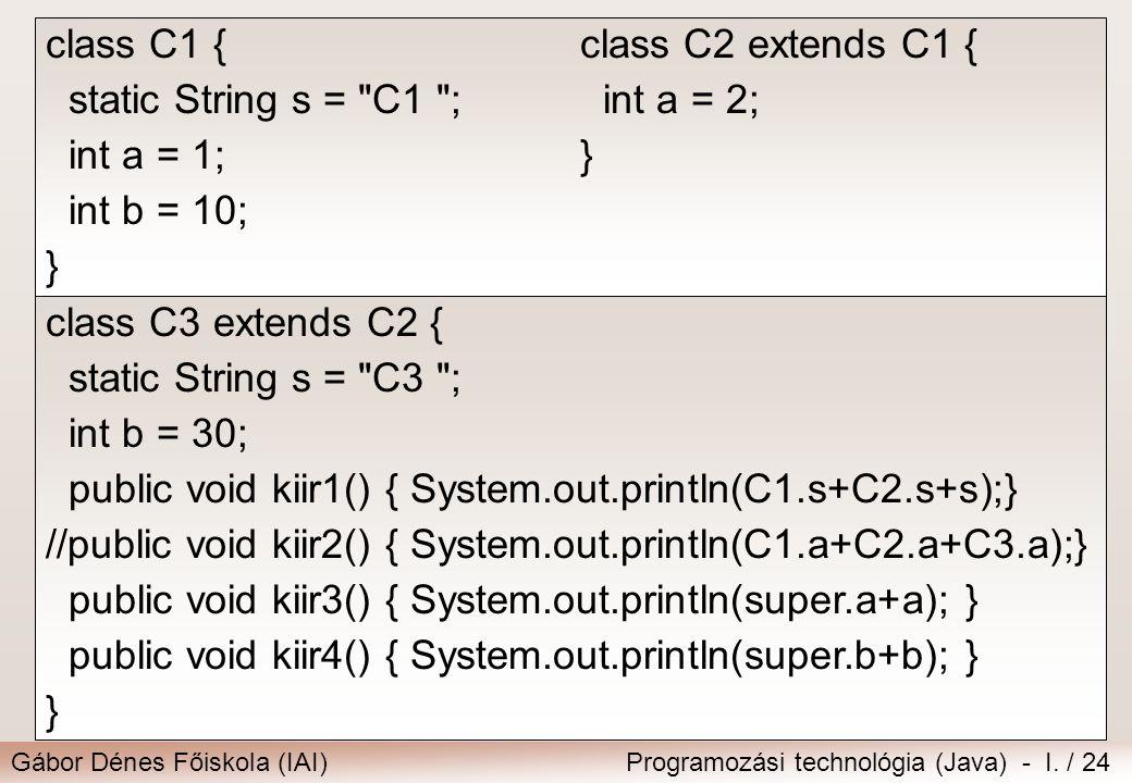 class C1 { static String s = C1 ; int a = 1; int b = 10; } class C2 extends C1 { int a = 2; }