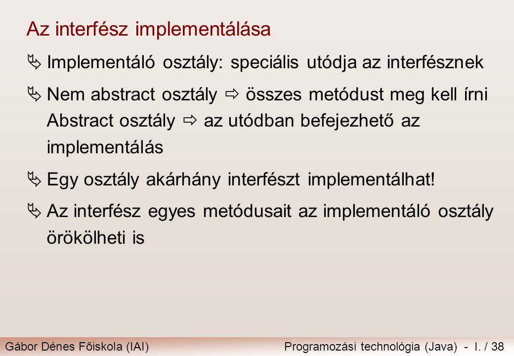 Az interfész implementálása