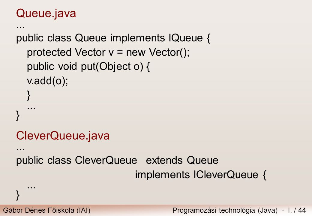 Queue.java CleverQueue.java ... public class Queue implements IQueue {