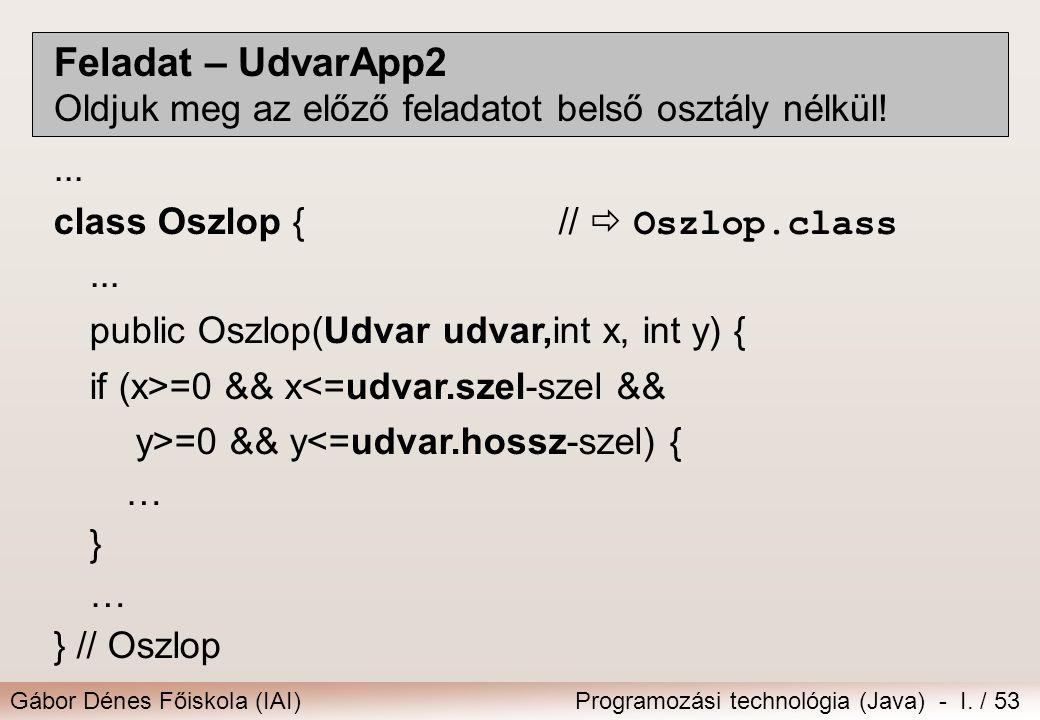 Feladat – UdvarApp2 Oldjuk meg az előző feladatot belső osztály nélkül! ... class Oszlop { //  Oszlop.class.