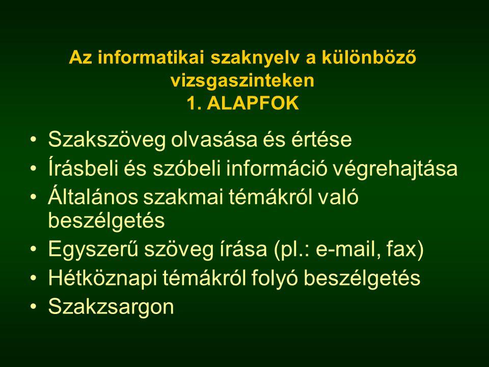 Az informatikai szaknyelv a különböző vizsgaszinteken 1. ALAPFOK