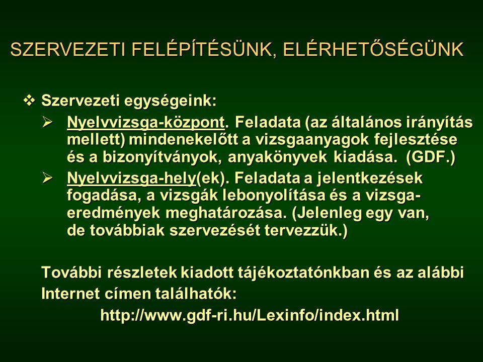 SZERVEZETI FELÉPÍTÉSÜNK, ELÉRHETŐSÉGÜNK