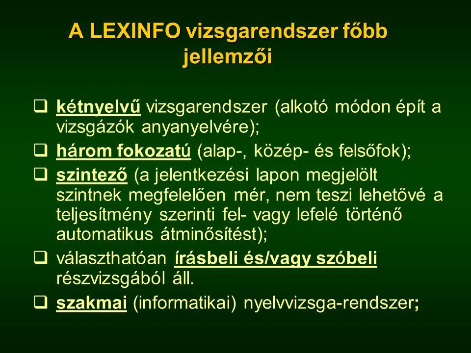 A LEXINFO vizsgarendszer főbb jellemzői