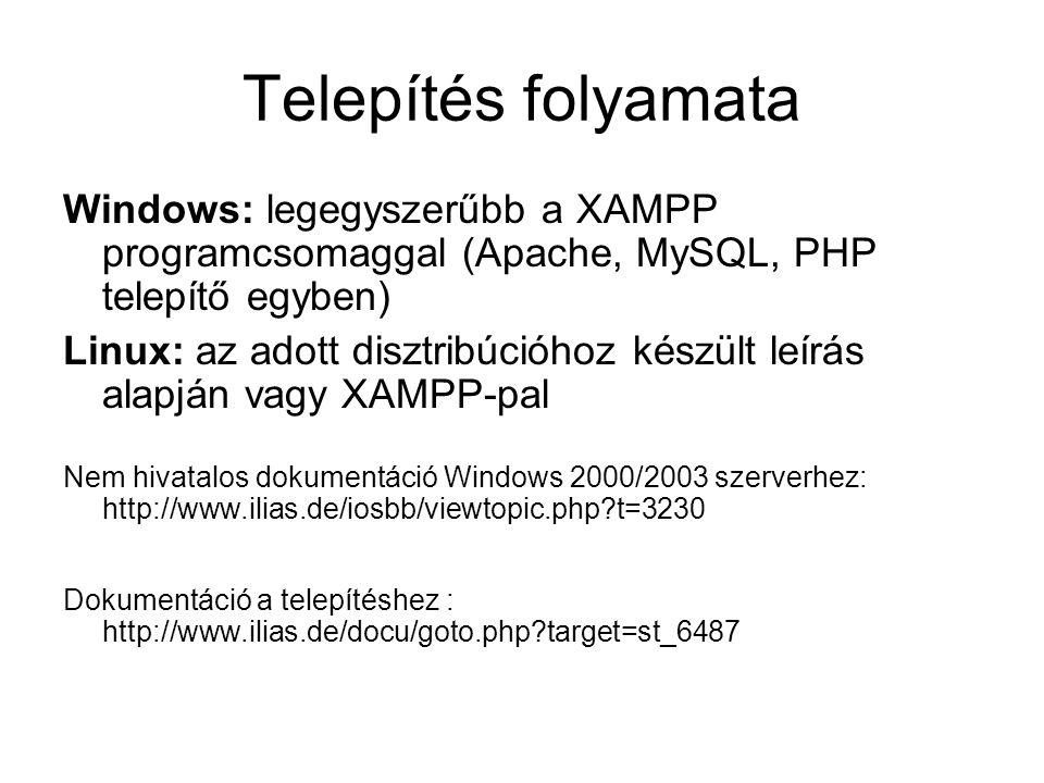 Telepítés folyamata Windows: legegyszerűbb a XAMPP programcsomaggal (Apache, MySQL, PHP telepítő egyben)