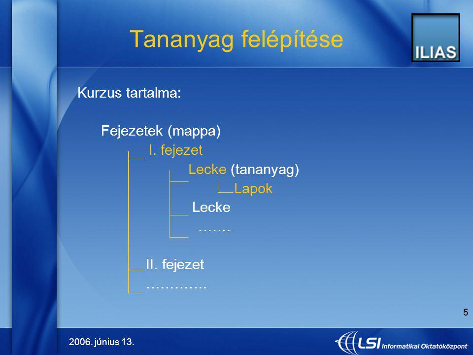 Tananyag felépítése Kurzus tartalma: Fejezetek (mappa) I. fejezet