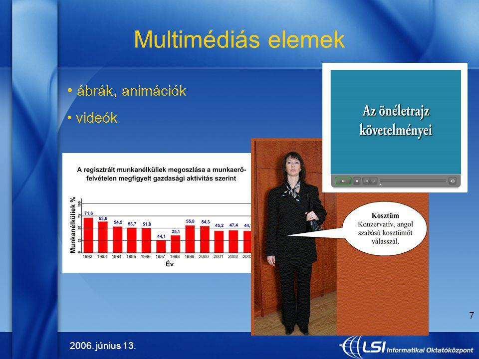 Multimédiás elemek ábrák, animációk videók 2006. június 13.