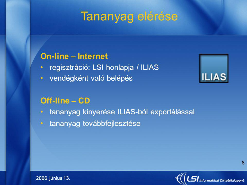 Tananyag elérése On-line – Internet Off-line – CD