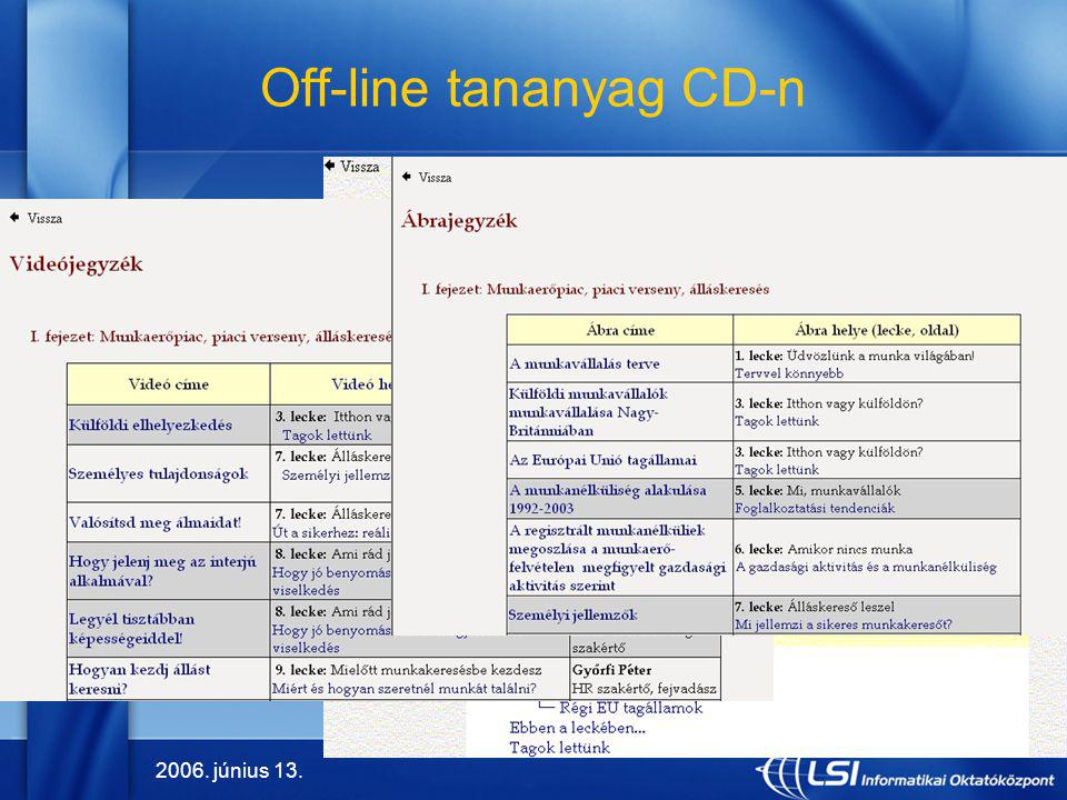 Off-line tananyag CD-n