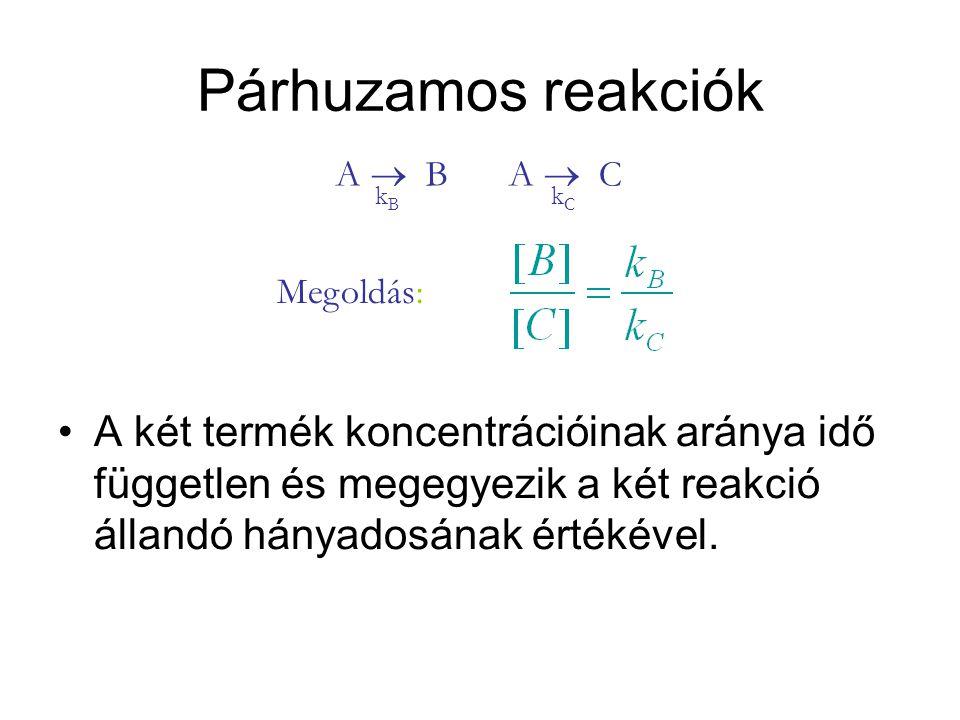 Párhuzamos reakciók A  B. A  C. kB. kC. Megoldás: