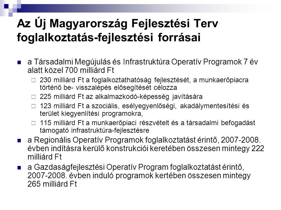 Az Új Magyarország Fejlesztési Terv foglalkoztatás-fejlesztési forrásai