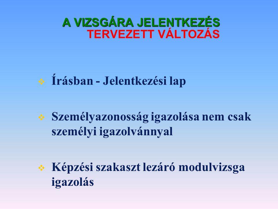 A VIZSGÁRA JELENTKEZÉS TERVEZETT VÁLTOZÁS