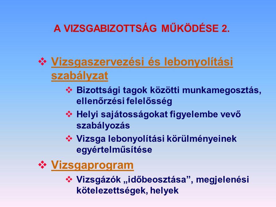 A VIZSGABIZOTTSÁG MŰKÖDÉSE 2.