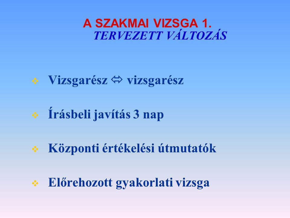 A SZAKMAI VIZSGA 1. TERVEZETT VÁLTOZÁS