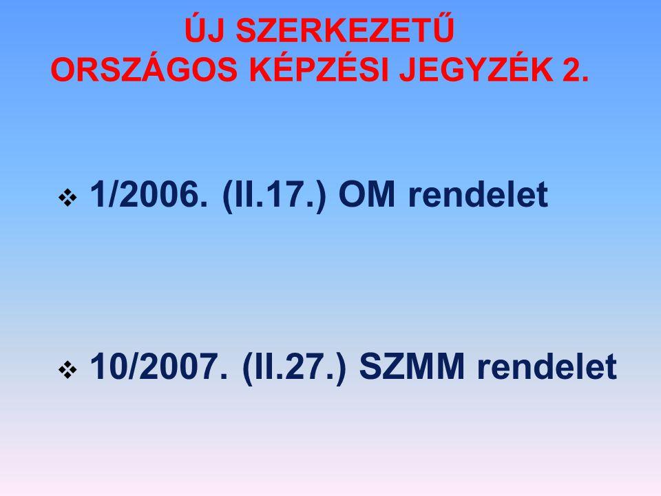 ÚJ SZERKEZETŰ ORSZÁGOS KÉPZÉSI JEGYZÉK 2.