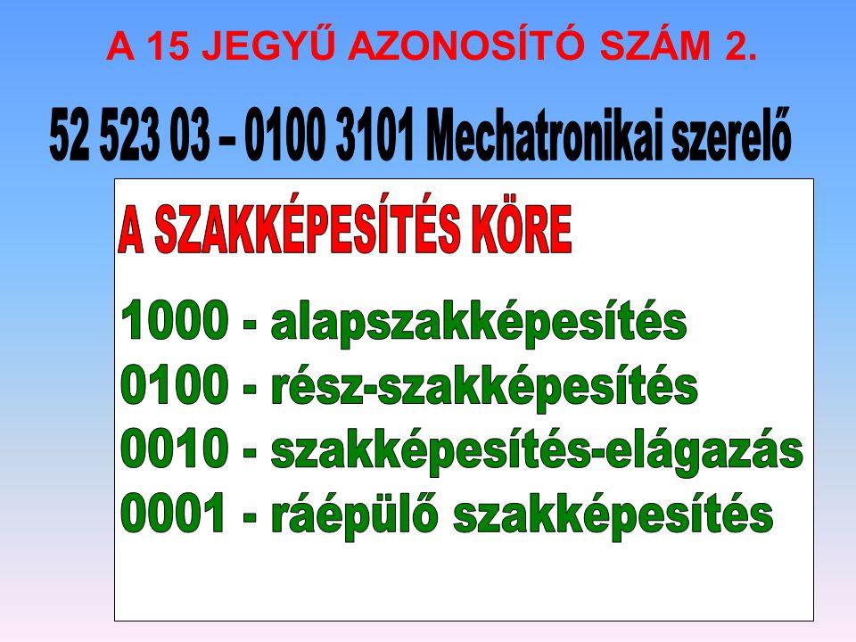 52 523 03 – 0100 3101 Mechatronikai szerelő