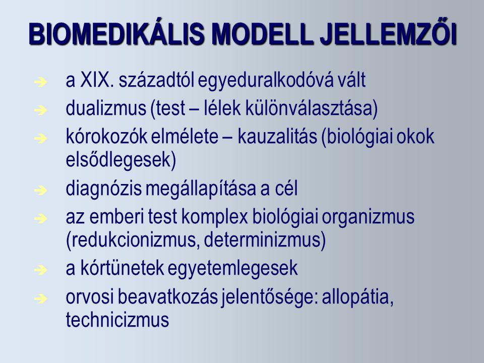 BIOMEDIKÁLIS MODELL JELLEMZŐI