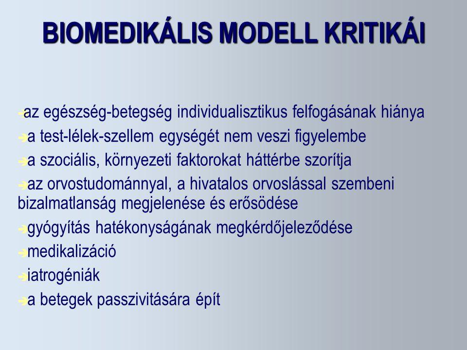 BIOMEDIKÁLIS MODELL KRITIKÁI