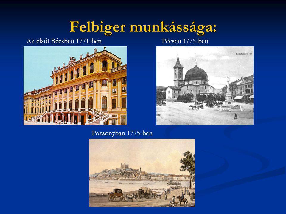 Felbiger munkássága: Az elsőt Bécsben 1771-ben Pécsen 1775-ben