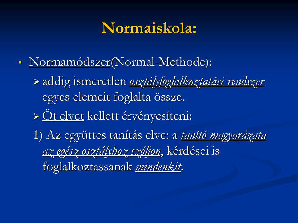 Normaiskola: Normamódszer(Normal-Methode):