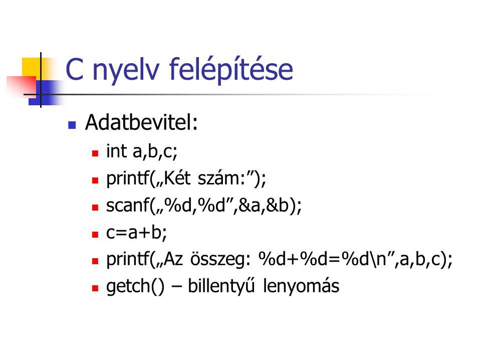 """C nyelv felépítése Adatbevitel: int a,b,c; printf(""""Két szám: );"""