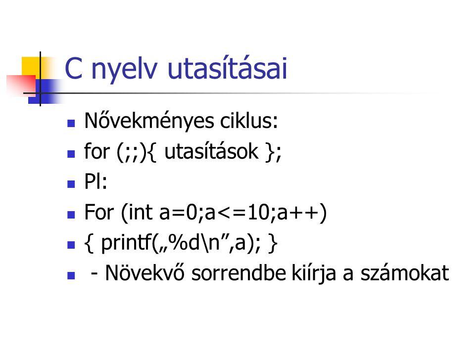 C nyelv utasításai Nővekményes ciklus: for (;;){ utasítások }; Pl: