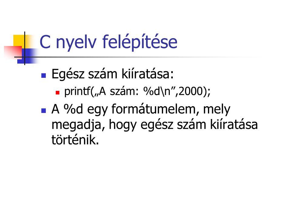 C nyelv felépítése Egész szám kiíratása: