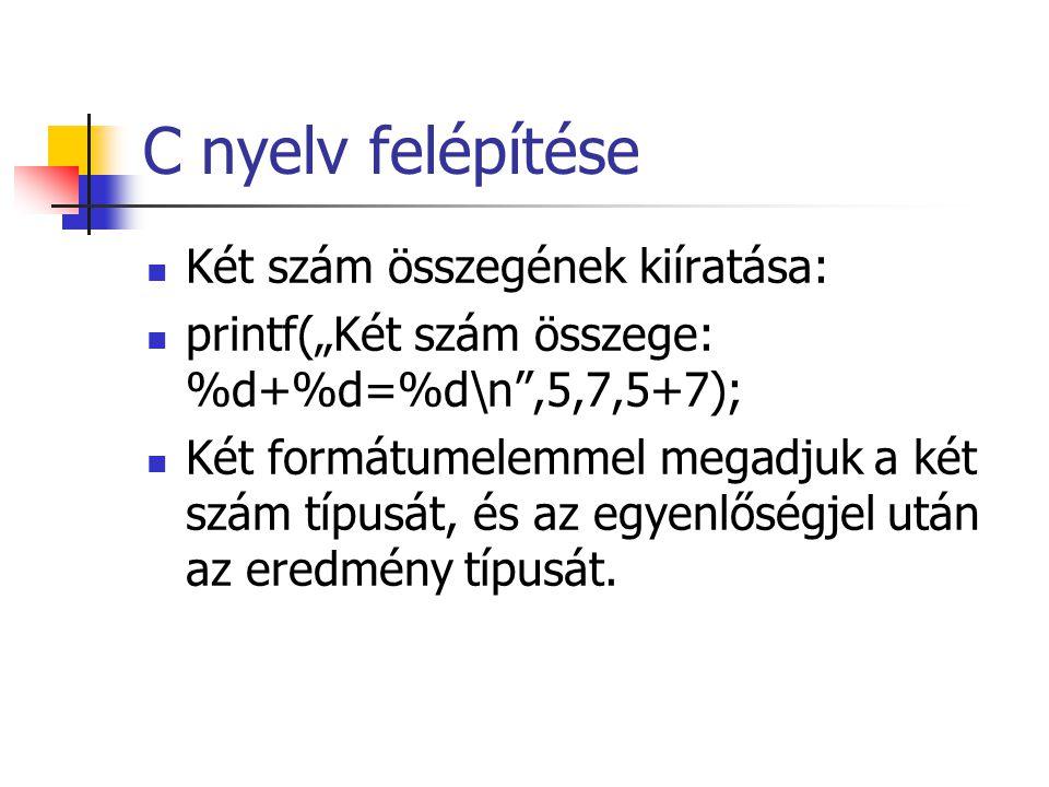 C nyelv felépítése Két szám összegének kiíratása: