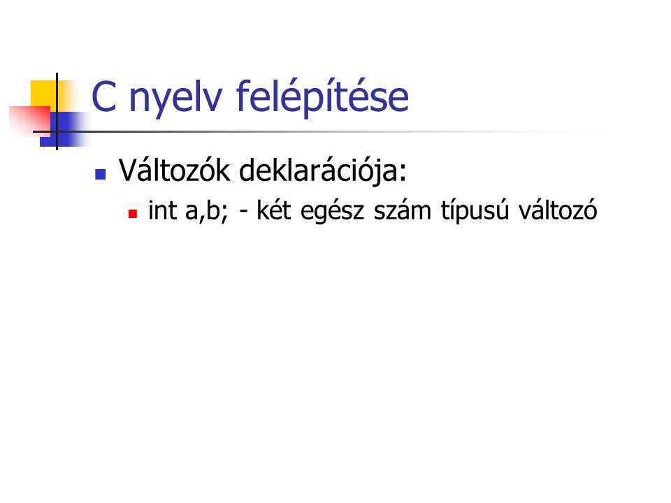 C nyelv felépítése Változók deklarációja: