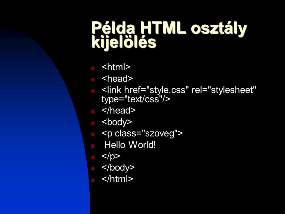 Példa HTML osztály kijelölés