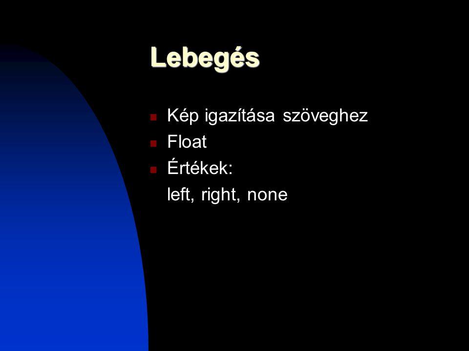 Lebegés Kép igazítása szöveghez Float Értékek: left, right, none