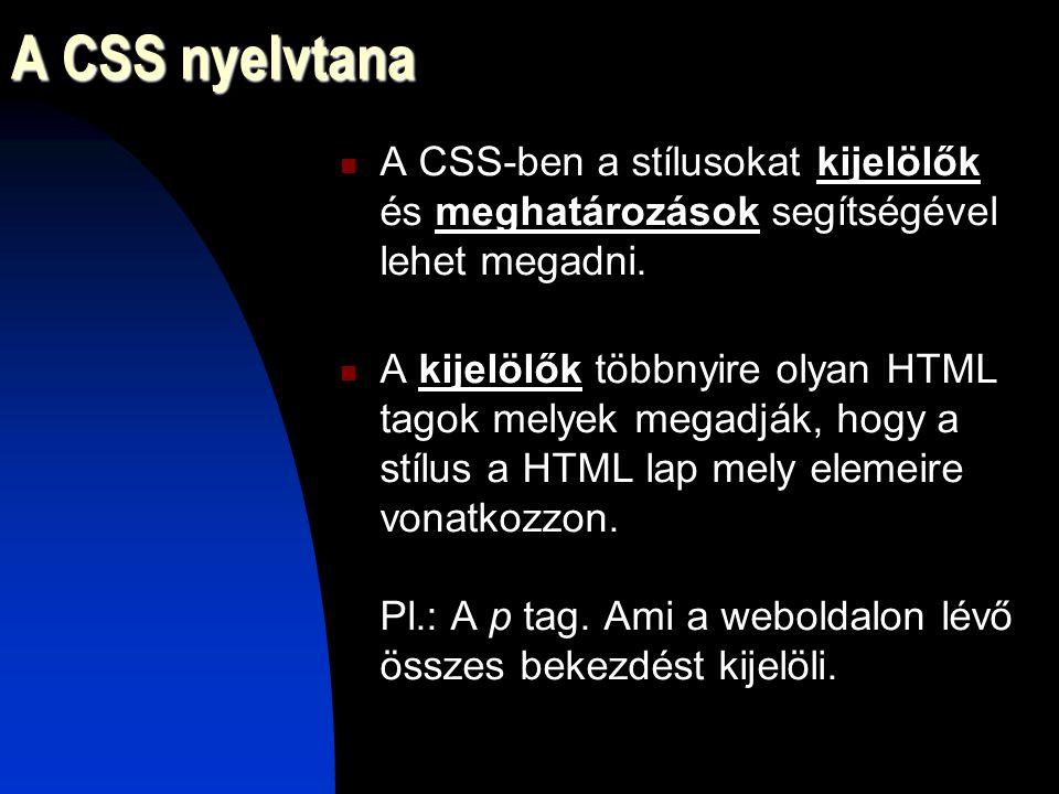 A CSS nyelvtana A CSS-ben a stílusokat kijelölők és meghatározások segítségével lehet megadni.