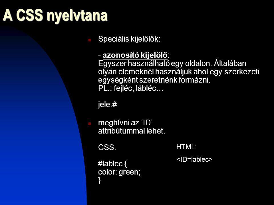 A CSS nyelvtana