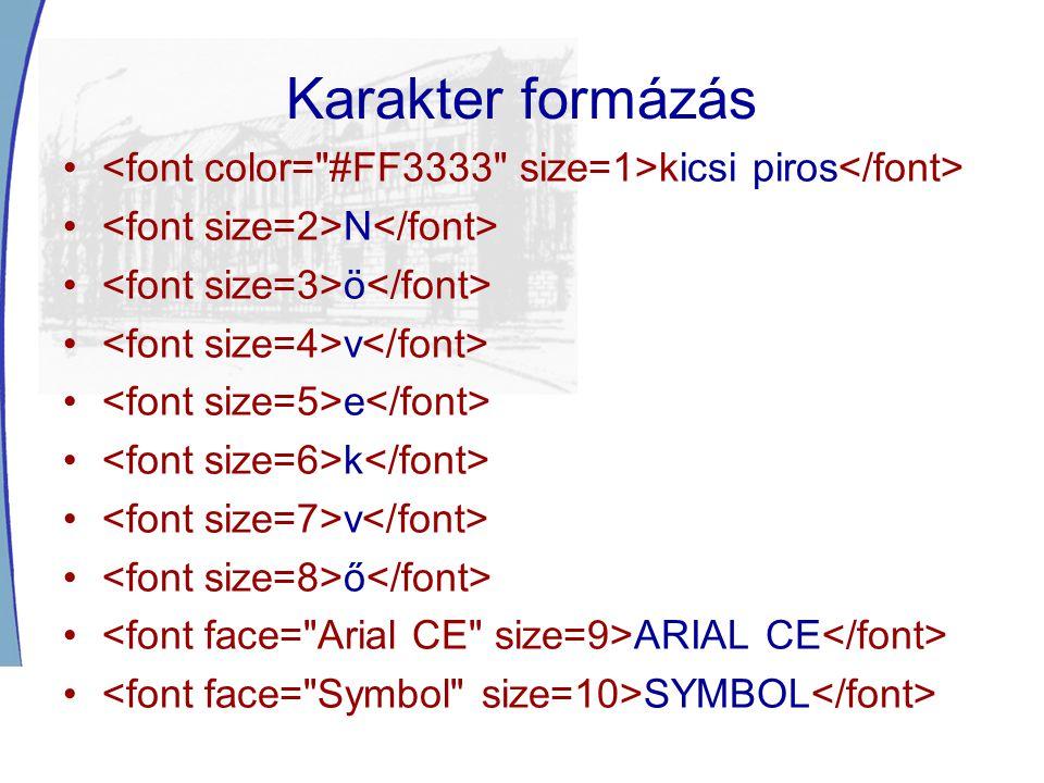 Karakter formázás <font color= #FF3333 size=1>kicsi piros</font> <font size=2>N</font> <font size=3>ö</font>