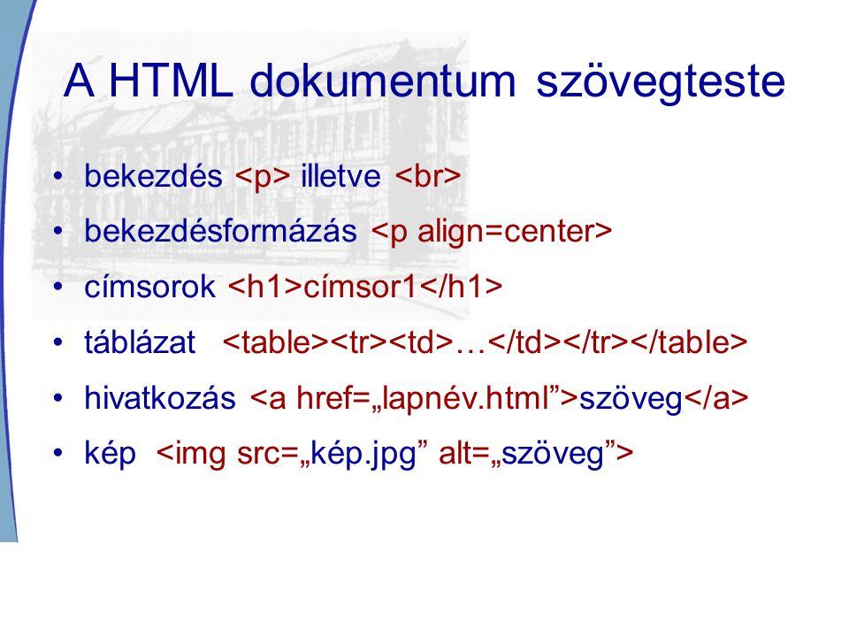 A HTML dokumentum szövegteste