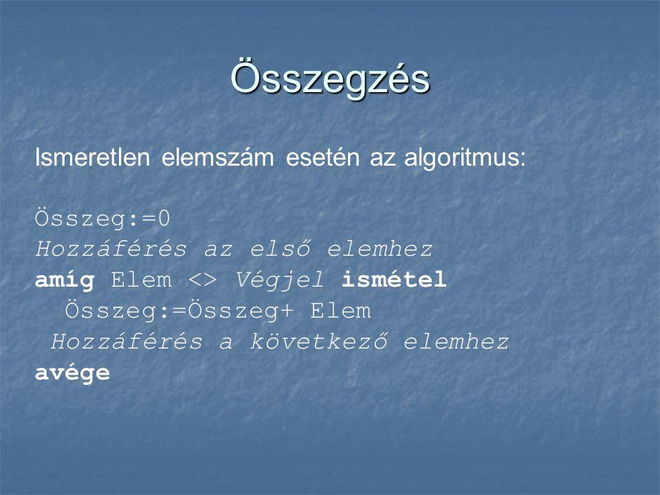 Összegzés Ismeretlen elemszám esetén az algoritmus: Összeg:=0