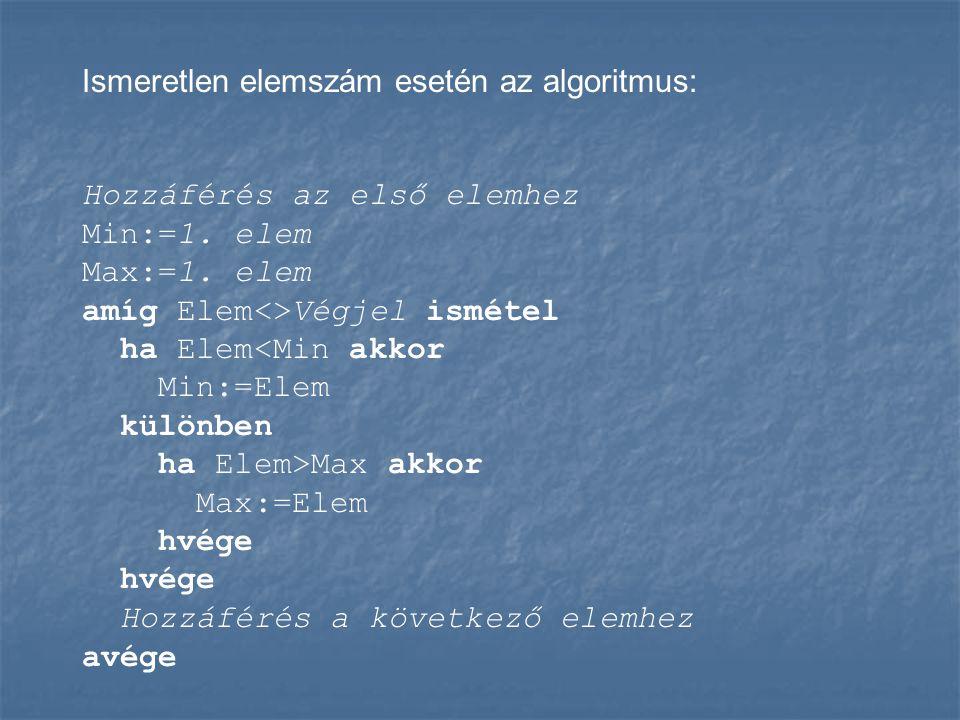 Ismeretlen elemszám esetén az algoritmus: