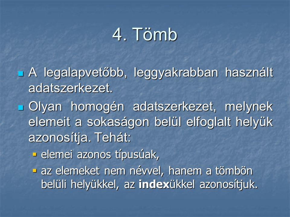 4. Tömb A legalapvetőbb, leggyakrabban használt adatszerkezet.