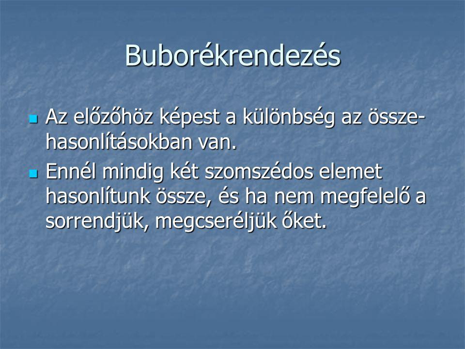 Buborékrendezés Az előzőhöz képest a különbség az össze-hasonlításokban van.
