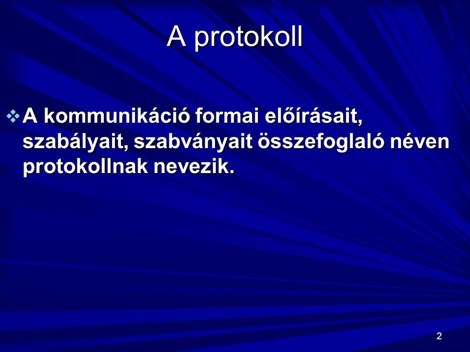 A protokoll A kommunikáció formai előírásait, szabályait, szabványait összefoglaló néven protokollnak nevezik.
