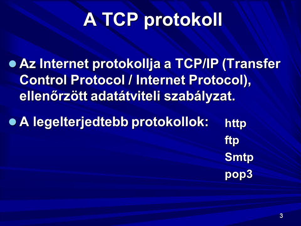 A TCP protokoll Az Internet protokollja a TCP/IP (Transfer Control Protocol / Internet Protocol), ellenőrzött adatátviteli szabályzat.