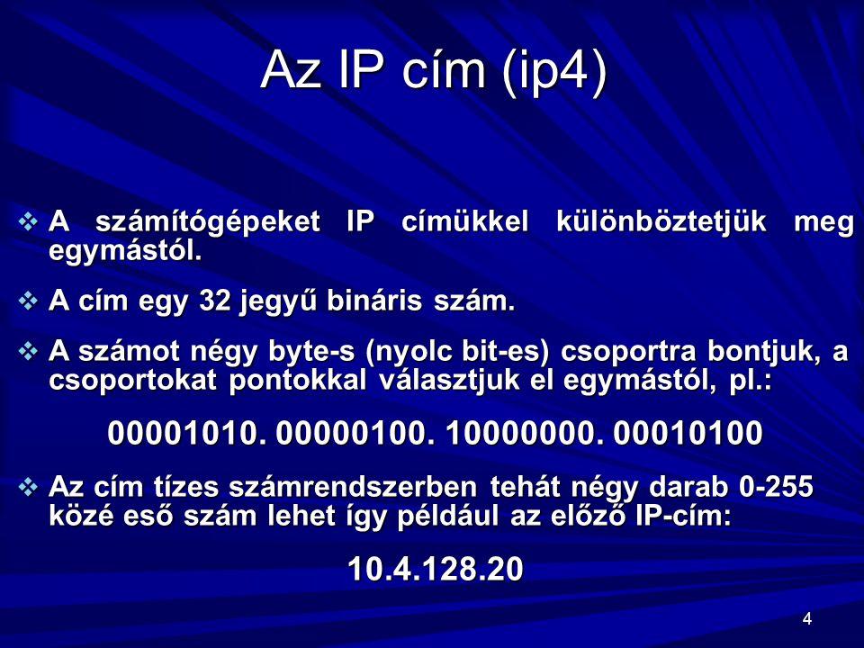 Az IP cím (ip4) A számítógépeket IP címükkel különböztetjük meg egymástól. A cím egy 32 jegyű bináris szám.