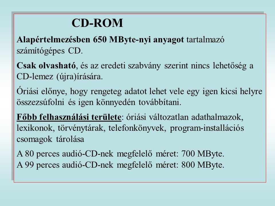 CD-ROM Alapértelmezésben 650 MByte-nyi anyagot tartalmazó számítógépes CD.