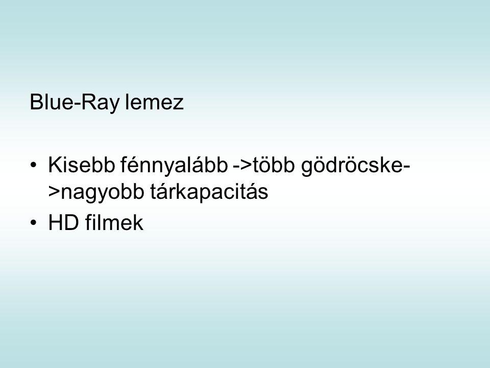 Blue-Ray lemez Kisebb fénnyalább ->több gödröcske->nagyobb tárkapacitás HD filmek