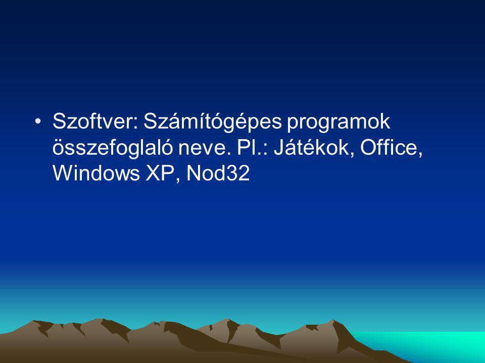Szoftver: Számítógépes programok összefoglaló neve. Pl