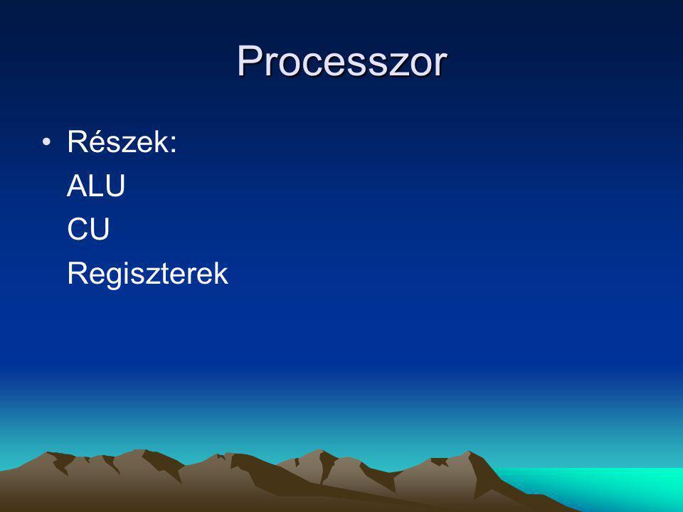 Processzor Részek: ALU CU Regiszterek