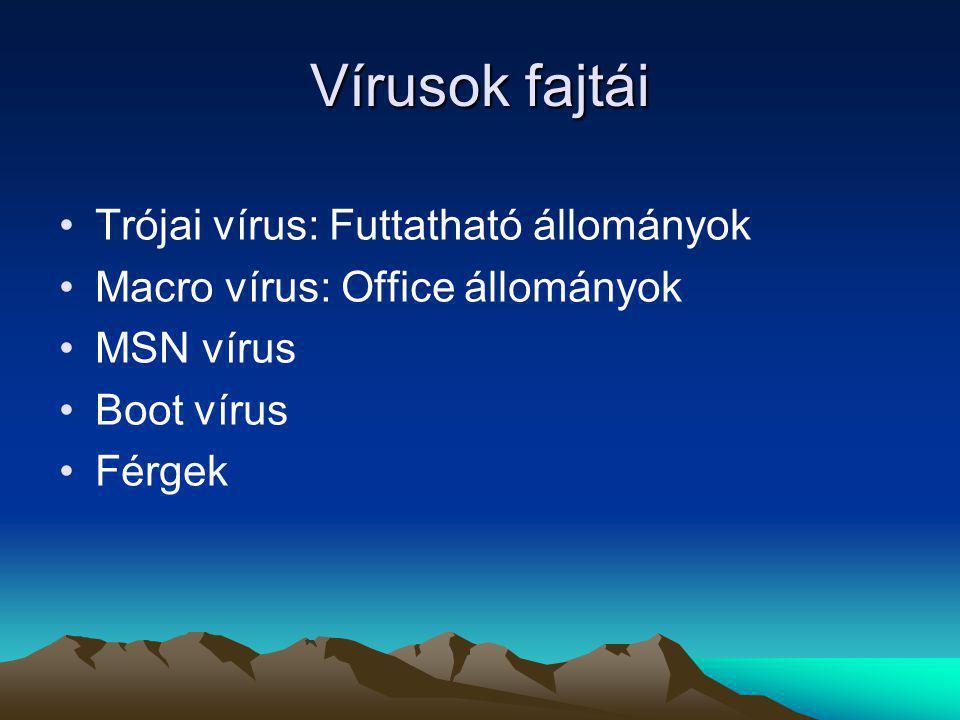 Vírusok fajtái Trójai vírus: Futtatható állományok