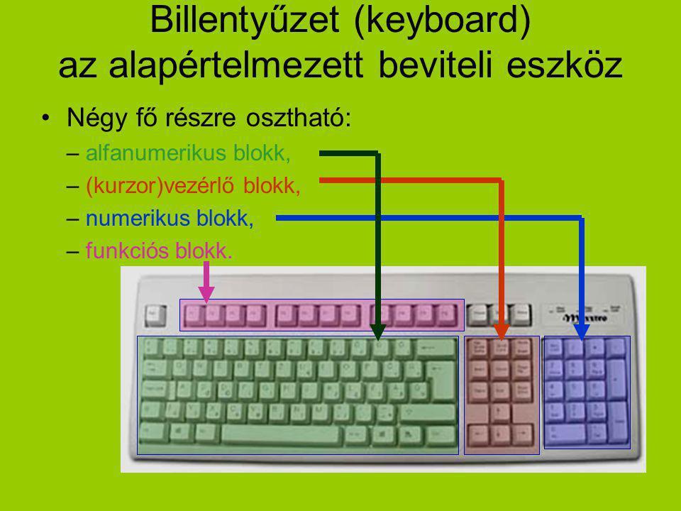 Billentyűzet (keyboard) az alapértelmezett beviteli eszköz