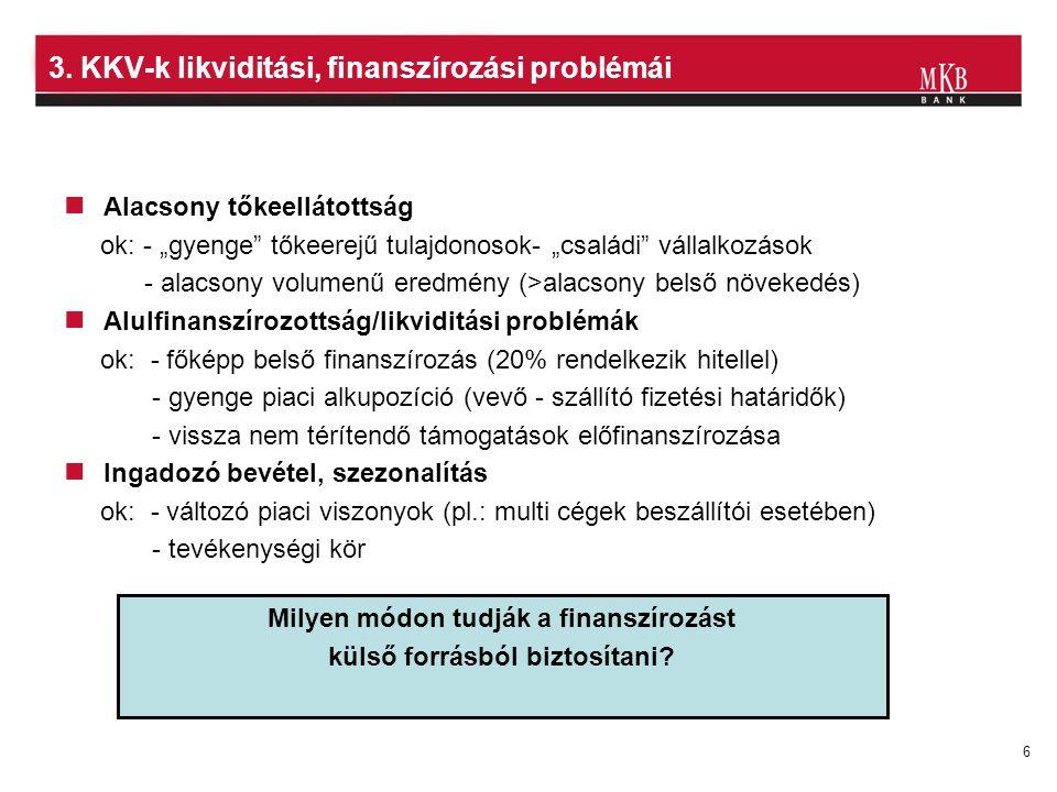 3. KKV-k likviditási, finanszírozási problémái